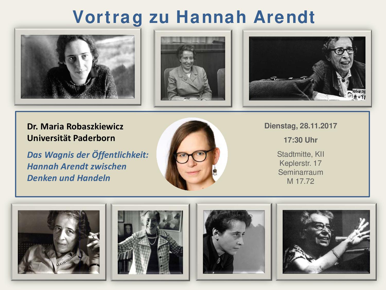 """Maria Robaszkiewicz – """"Das Wagniss der Öffentlichkeit: Hannah Arendt zwischen Denken und Handeln"""""""