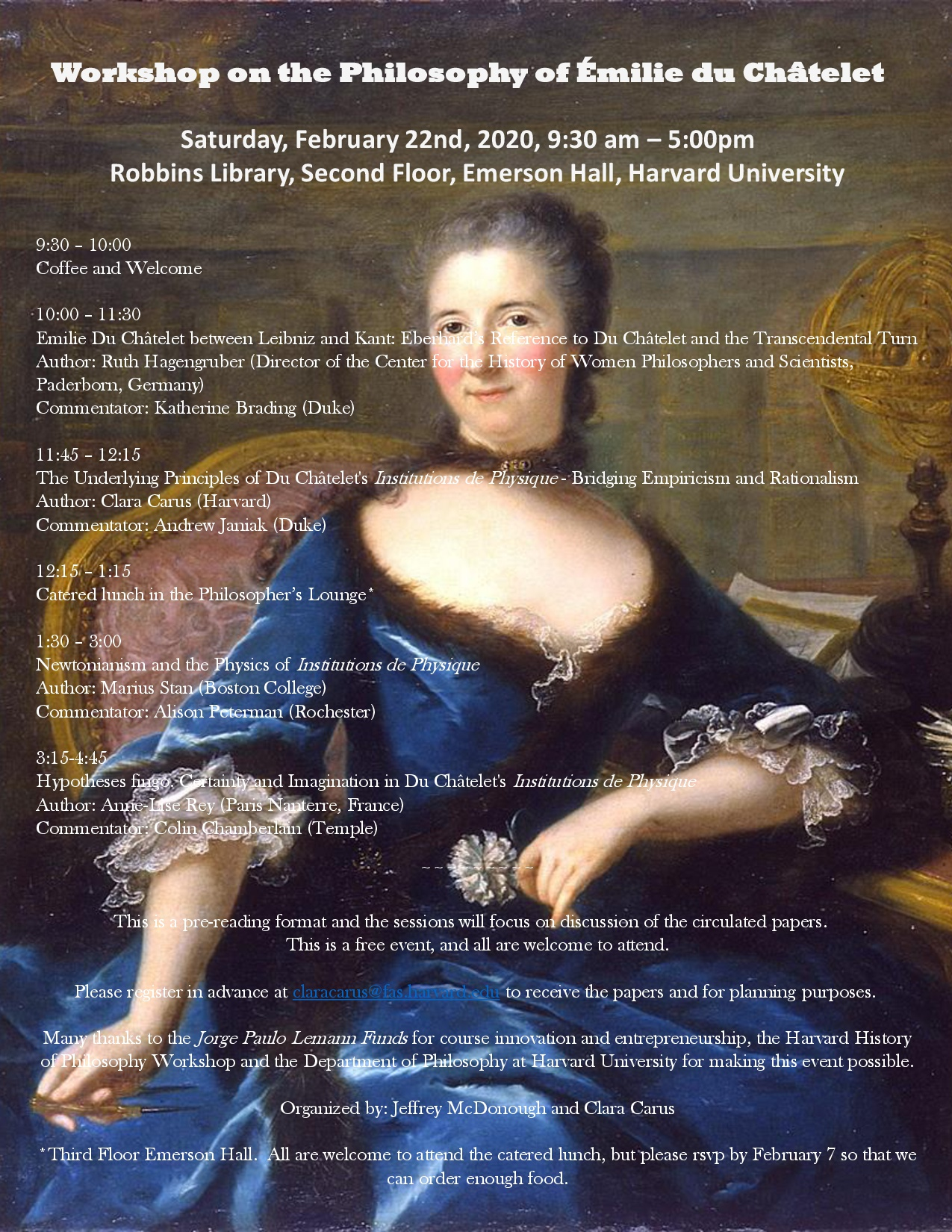 Harvard History of Philosophy Workshop Emilie Du Châtelet